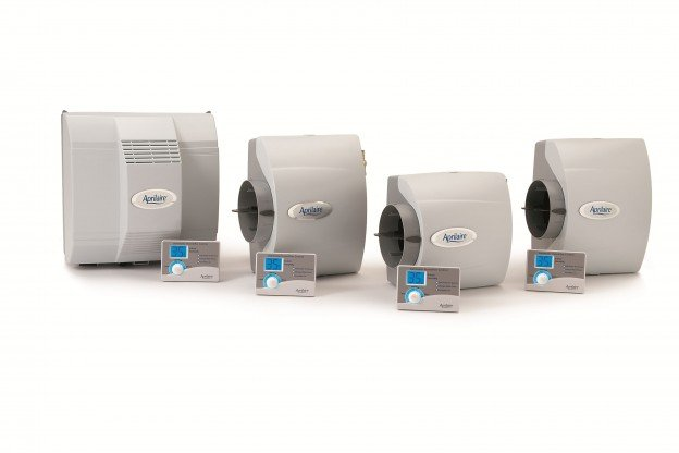 Four Aprilaire humidifiers displayed